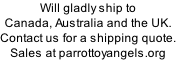 Will gladly ship to Canada, Australia and the UK.   Contact us for a shipping quote. Sales at parrottoyangels.org