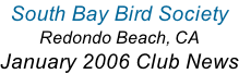 South Bay Bird Society  Redondo Beach, CA January 2006 Club News